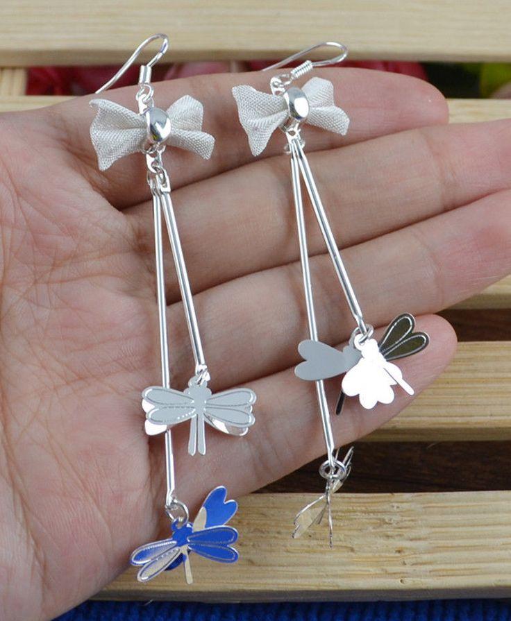$15.000- Aretes en plata con moñitos y libélulas Delicados y elegantes tamaño 7cm