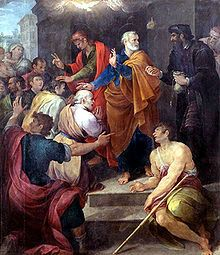 Peter's conflict with Simon Magus by Avanzino Nucci, 1620. Simon is on the right, dressed in black.