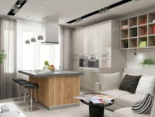 Küche Esszimmer Und Wohnzimmer In Einem Kleinen Raum