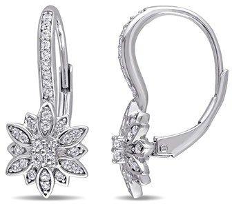 Laura Ashley White Sapphire Flower Earrings.