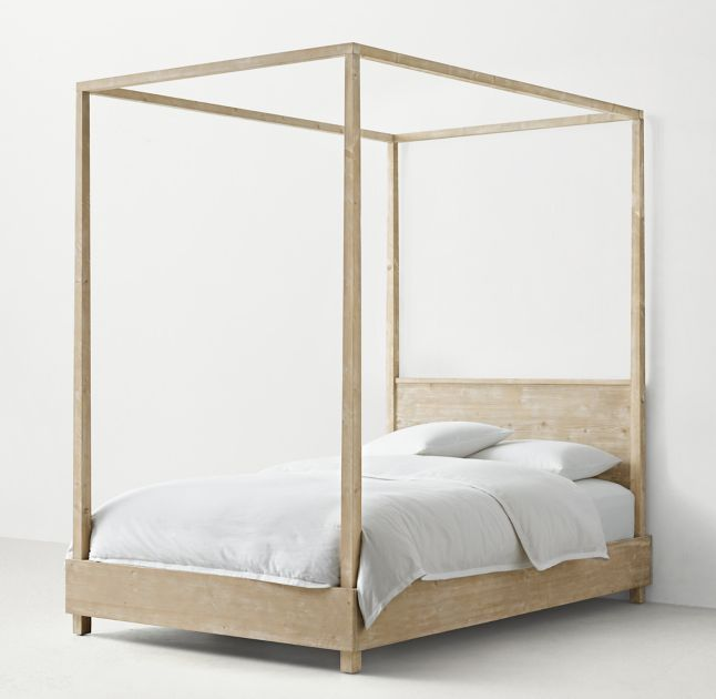 RH TEEN's Callum Platform Canopy Bed with Headboard (sandwashed grey)