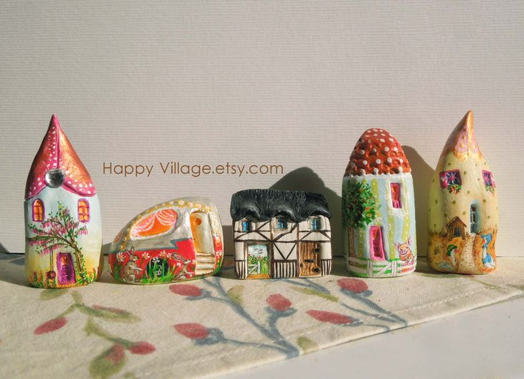Miniature Clay Houses by Evi, Happy Village.etsy.com #tinyhouse  #homedecor #Housefigurine #cottage #naturelovers ,#Nature #flowerpower  #receptacle  #clayart  #clayhouse #fairyhome #littleclayhouse  #miniaturehouse #clayfigurine #ceramichouses