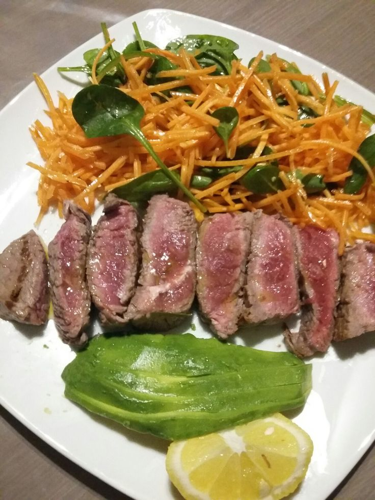 Sliced beef with avocado  and vegetables! Follow me  @gg_fitpower on instagram