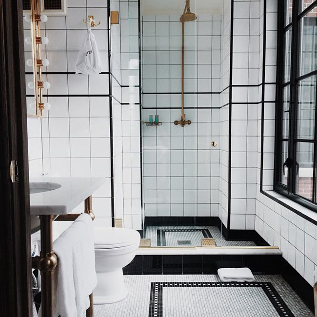 My hotel room bathroom at the Ludlow Hotel — 5 New Favorite Addresses in NYC on @SavvyHome