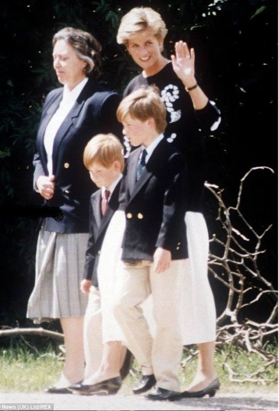 May, 1991: Princess Diana with Prince William and Prince Harry with their nanny, Mrs Jessica Webb in Scilly Isles.