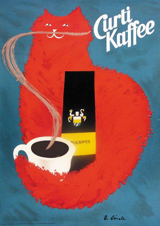 Poster by B. Eisele, 1959, Curti Kaffee.