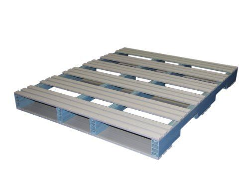Jifram 05000114 48-Inch by 40-Inch 4-Way Entry Recycled Plastic Pallet with 2500 Pound Weight Capacity by Jifram's Custom Plastic Pallets. $107.74. From the Manufacturer                Proudly made in the U.S.A. from recycled plastic, Extreme fire and flame resistance, Repels water , Major insurance companies may offer substantial discounts for using rigid PVC plastic pallets , Less warehouse handling injuries (no splinters and rusted nails) , Longer life span than woo...