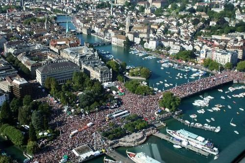 Technoparade In Europe Held In City Of Zurich In Switzerland
