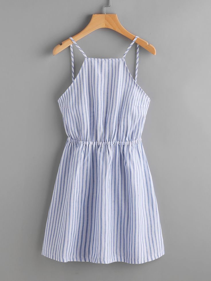 Striped Cut Out Bow Tie Open Back Cami Dress from SheIn {this is an affiliate link}