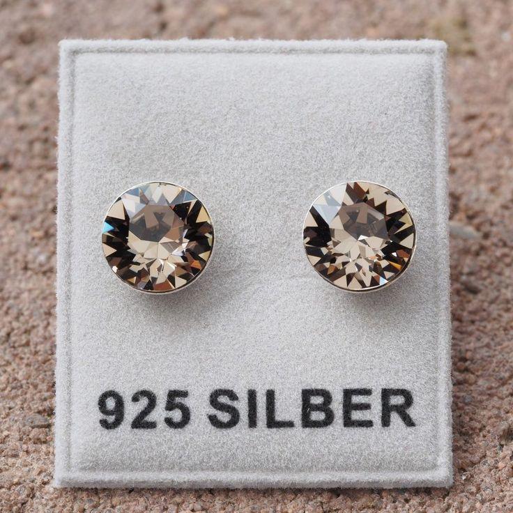 NEU 925 Silber OHRSTECKER 8mm SWAROVSKI STEINE greige/braun-grau OHRRINGE-£9,49-magoshop1
