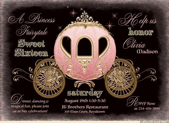 Midnight Princess Sweet 16 Invitations - Black, Coral & Gold