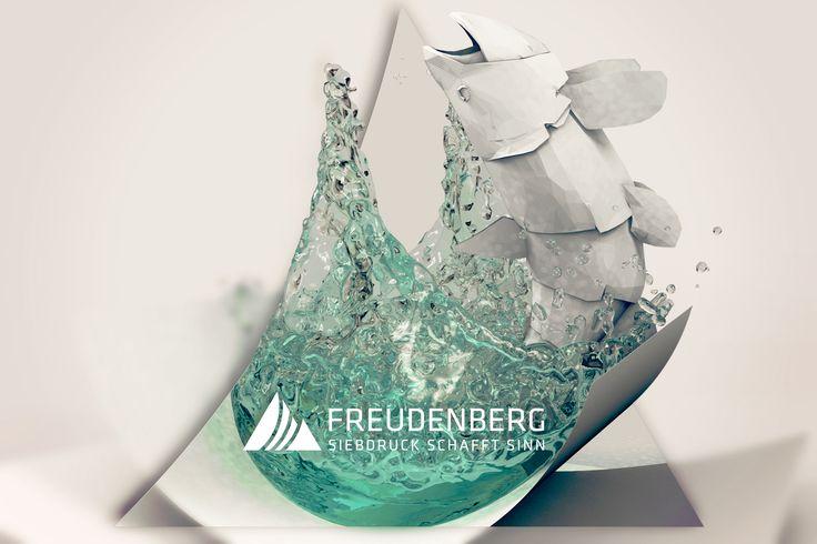 » paper fish « 3D art by Robert Fahrnow for SIEBDRUCK FREUDENBERG