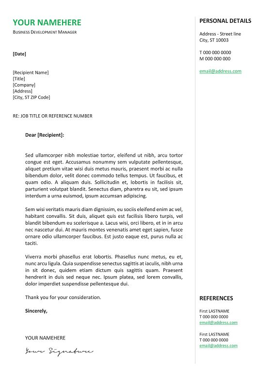 gastown2 free professional cover letter template green - Resume Cover Letter Template Free