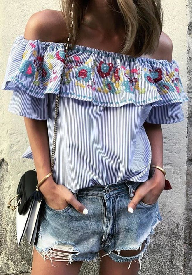 #summer #outfits Blue Striped Off The Shoulder Top + Ripped Denim Short