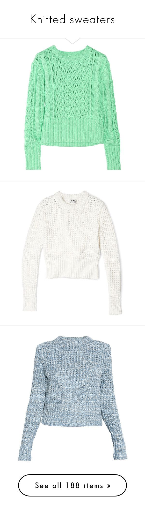 """Knitted sweaters"" by mars ❤ liked on Polyvore featuring sweaters, knitted, knittedsweaters, tops, shirts, jumpers, mint shirt, green cable sweater, cable jumper and shirt sweater"
