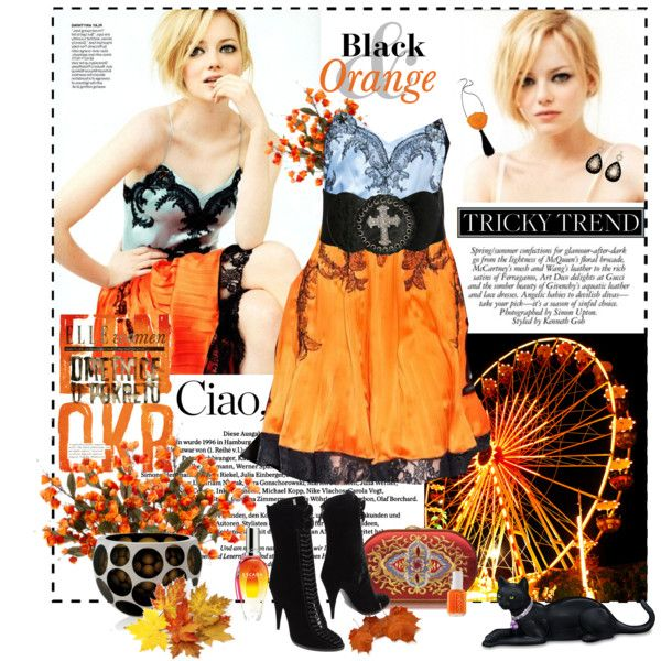 Tricky Trend: Black and Orange by aysebt on Polyvore featuring Givenchy, Katrin Langer, Kenneth Jay Lane, Oasis, Angel Ranch, Essie, Hamilton, Behance and Scoop
