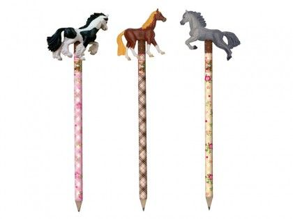 Popular horsey pencils with a gorgeous horse topper.  Each pencil is beautifully patterned and has a gorgeous horsey topper making these pencils a little bit extra special.  A brilliant finishing touch to a horsey gift, stocking filler or for a pony party bag.