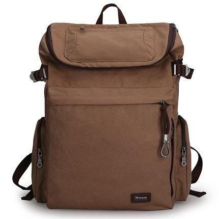 Muzee Vintage Canvas Backpack with USB Charging Port