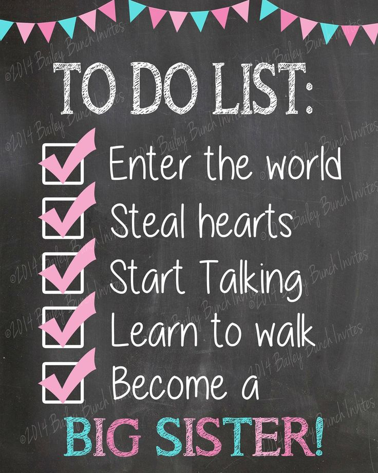 To Do List Big Sister Reveal, Pregnancy Reveal, Promoted to big Sister, Chalkboard IDGIRLTODO0520