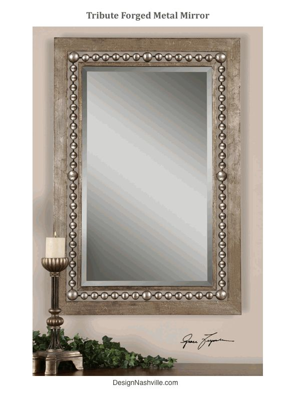 """Tribute Forged Metal Mirror metal bead details. antiqued silver leaf rectangular frame. beveled mirror. extra large. 49"""" high. may be hung vertically or horizontally"""