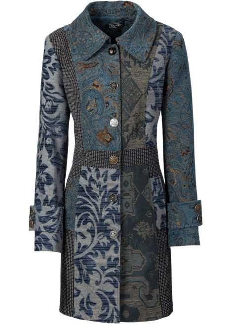 manteau style en jacquard bleu imprime kleidung entwerfen
