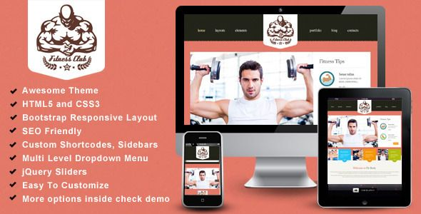 Fitness Club- Bootstrap Responsive Theme   Created: 16February14 LastUpdate: 16February14 Columns: 4+ CompatibleBrowsers: IE9 #IE10 #IE11 #Firefox #Safari #Opera #Chrome CompatibleWith: Bootstrap2.3.x Documentation: WellDocumented HighResolution: No Layout: Responsive ThemeForestFilesIncluded: PHPFiles #HTMLFiles #CSSFiles #JSFiles Tags: blue #business #clean #corporate #ecommerce #fitness #gym #portfolio #webtemplate #wordpress #yoga #themeforest