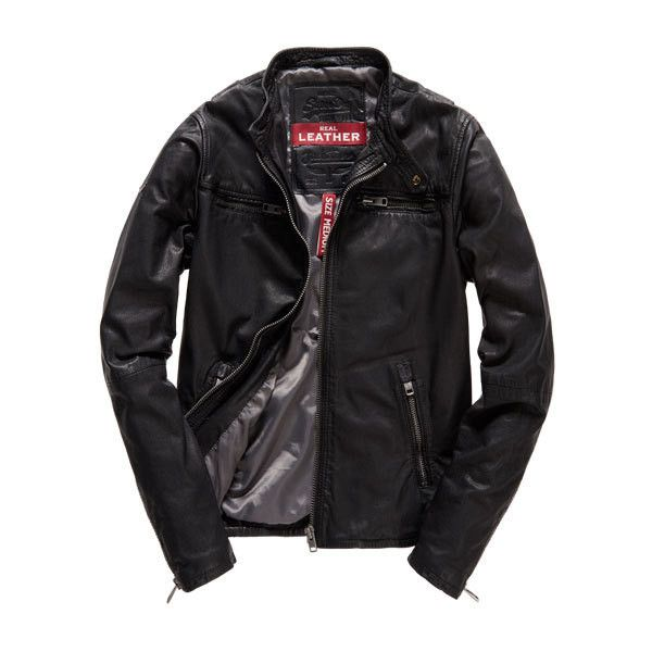 Superdry Real Hero Biker Leather Jacket ($290) ❤ liked on Polyvore featuring men's fashion, men's clothing, men's outerwear, men's jackets and black