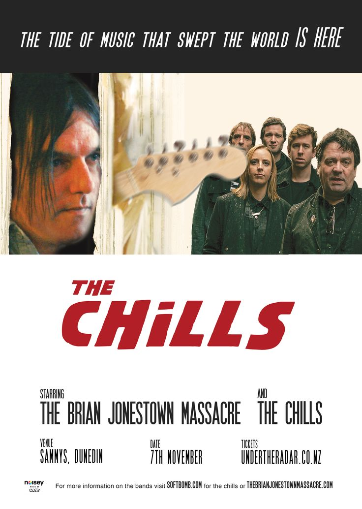 A fun on the street poster for The Brian Jonestown Massacre gig in Dunedin, a double bill with The Chills