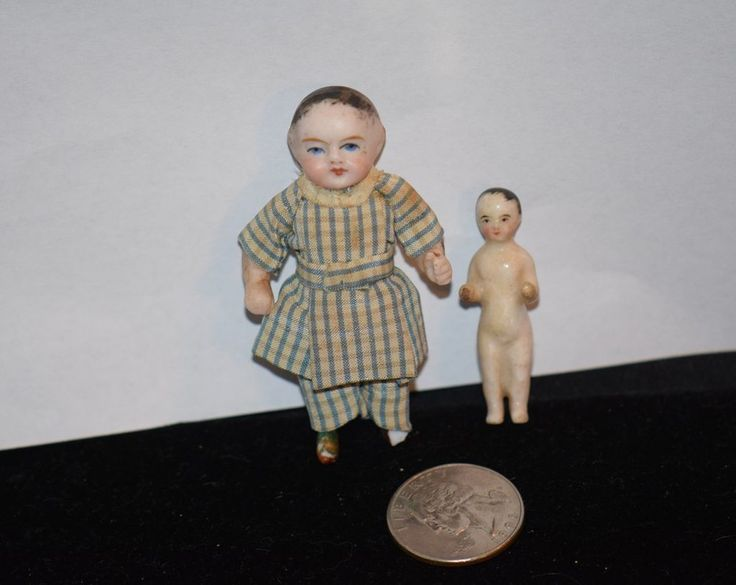 Antique Doll Two Dolls Frozen Charlie W/ Wispy & Bisque Miniature W/ Wispy Hair Dollhouse