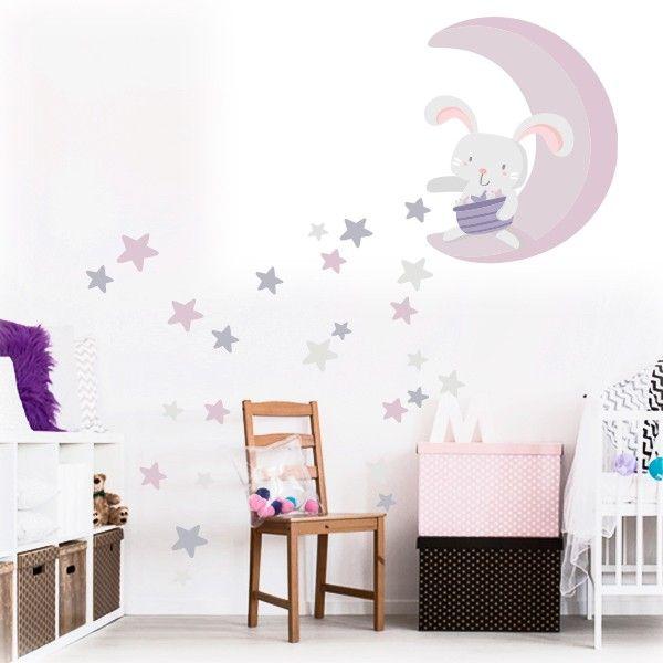 Vinilo bebé Conejito en la luna repartiendo estrellas - Morado en ...