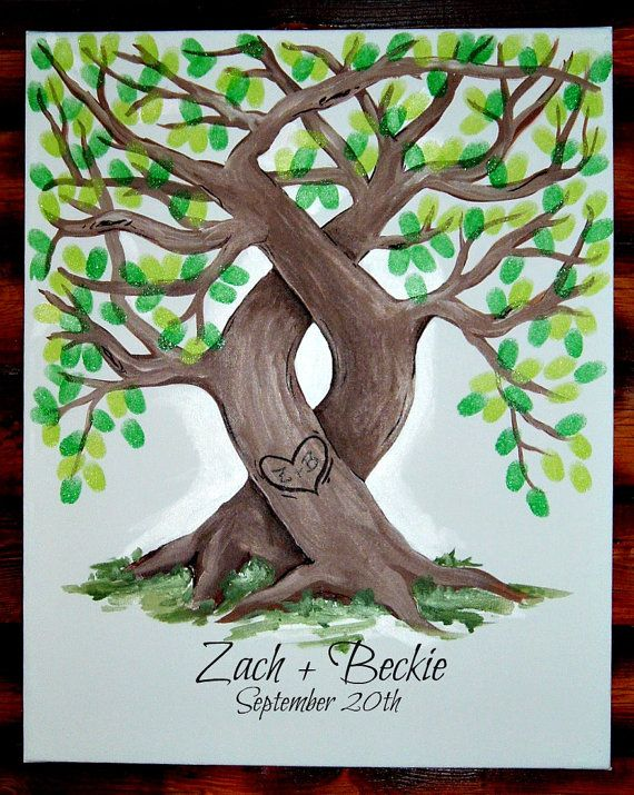 Wedding Unity Tree: Celebrate your unity tree ceremony with this print. The intertwined trees are forever etched with your initials. The 16 x 20 Trees-in-Love painted canvas has room for 160 guest thumb prints. Available from Etsy seller SansLimit, $95.