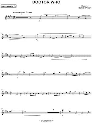 """Doctor Who Theme - Eb Instrument"" from 'Doctor Who' Sheet Music (Alto or Baritone Saxophone) - Download & Print"