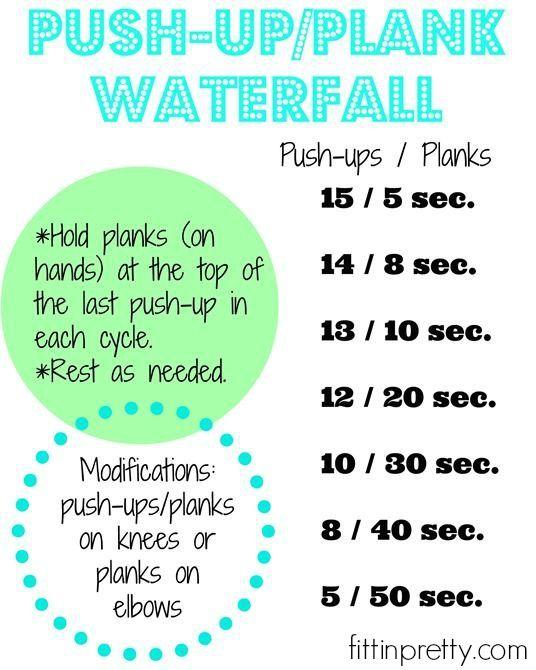 push-up/plank waterfall workout.