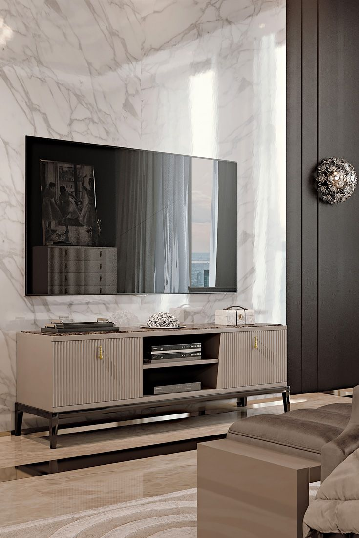 A high gloss cappuccino lacquered low structure with feature deco style ribbed drawers, statement metal drop handles in an antiqued gold finish with a perfectly contrasting top insert in the finest polished Emperador dark marble. Finally completed with a stylish low base in a dark ebony high gloss lacquered finish. The Italian Designer Art Deco Inspired TV Media Sideboard to suit both a classic or contemporary interior. Classic Art Deco inspiration meets timeless glamour.