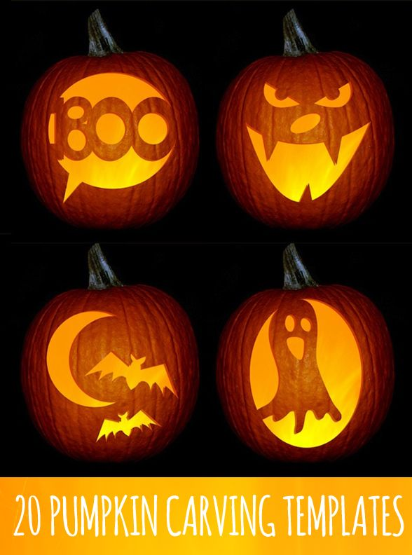 20 pumpkin templates - I like these. (Not super complicated)