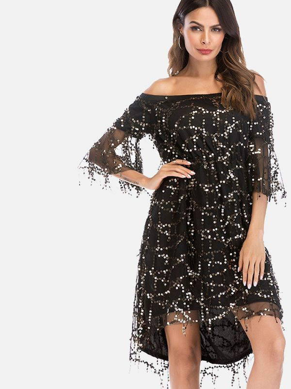 5ee9ba643e0 Fluted Sleeve Dip Hem Tassels Detail Off Shoulder Dress with Sequins  Embellished