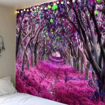 Forest Flower Path Way Print Wall Art Tapestry