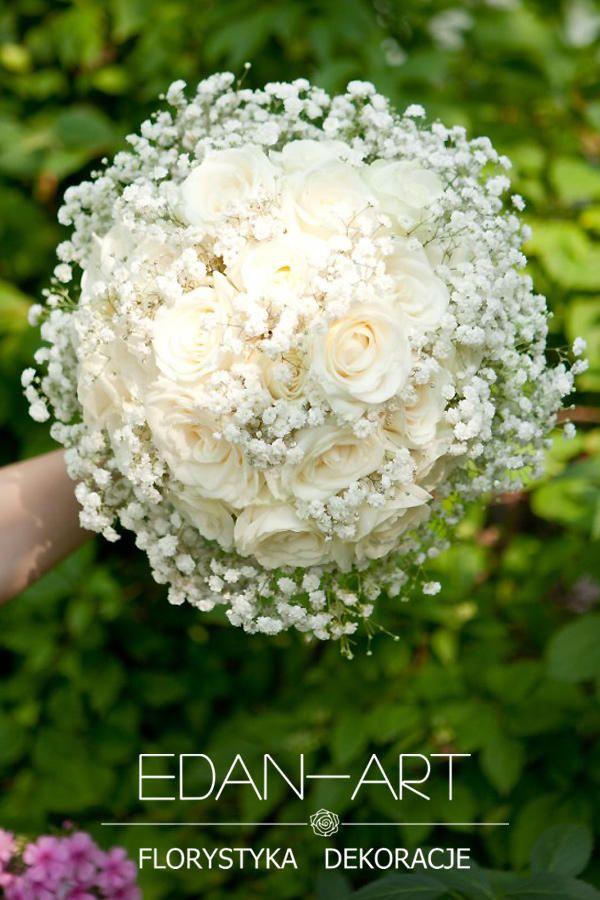 Bukiety Ślubne Edan-Art Mrągowo, Olsztyn, Warmińsko-Mazurskie, biały,  ślub, gipsówka, róża, #bukiet