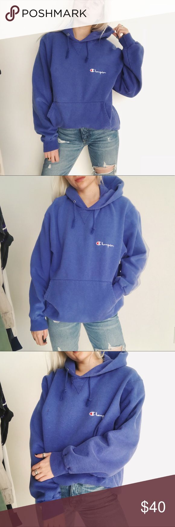 • vintage blue champion hoodie • the PERFECT ultra coxy vintage champion hoodie! faded blue. champion logo on sleeve 💘  * marked a size large  * 100% cotton   ❣ ABSOLUTELY NO PP OR TRADES ❣ ⭐️ model is 5'3 and typically a XS ⭐️ Champion Jackets & Coats