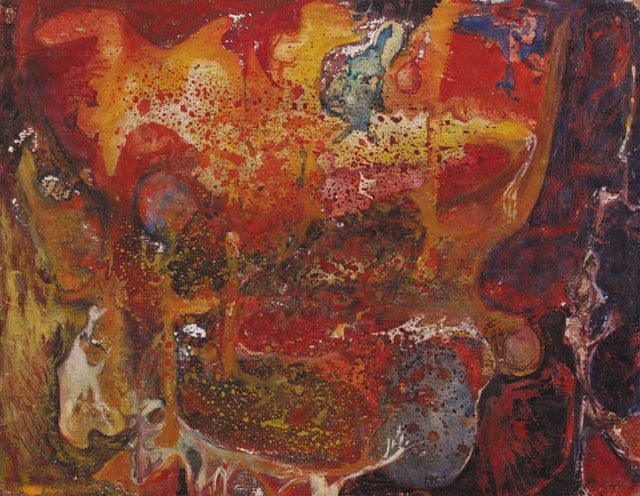 Erna Rosenstein | BEZ TYTUŁU, 1961 | technika mieszana, tektura naklejona na deskę | 21 x 27 cm