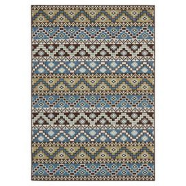 """Stylishly anchor your dining set or patio seating group with this loomed rug, showcasing a Southwestern-inspired motif in blue and creme.  Product: RugConstruction Material: PolypropyleneColor: Blue and cremeFeatures:  Power-loomed0.25"""" Pile heightSuitable for indoor and outdoor use Note: Please be aware that actual colors may vary from those shown on your screen. Accent rugs may also not show the entire pattern that the corresponding area rugs have.Cleaning and Care: Sweep, vacuum or rinse…"""