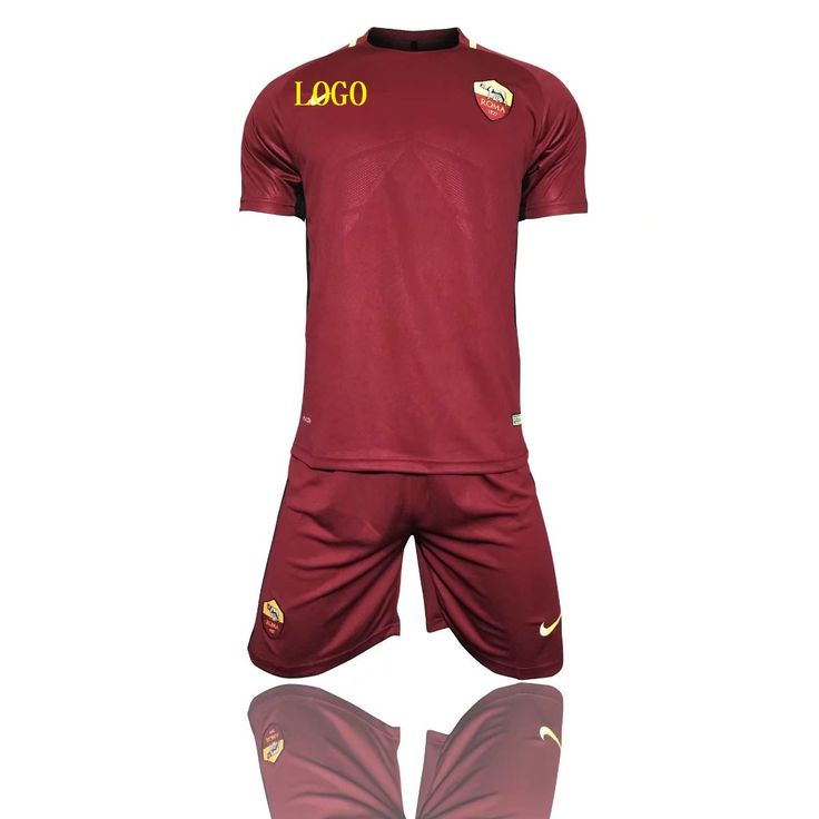 17-18 Men Roma Home Soccer Kits Adult Red Team Football Uniform Wholesale