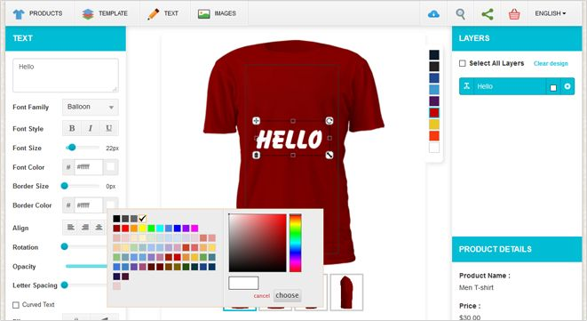 At Idesignibuy, we are a Group with well experienced online designers in which we developed this T-shirt Design Tool for T-shirt sellers and printers to get more customers for their business. With this Tool you can allow customers to personalize T-shirts like Text, Color, Image and others elements.