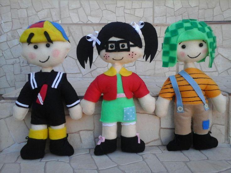 Bonecos de feltro. Kiko, Chiquinha e o Chaves.