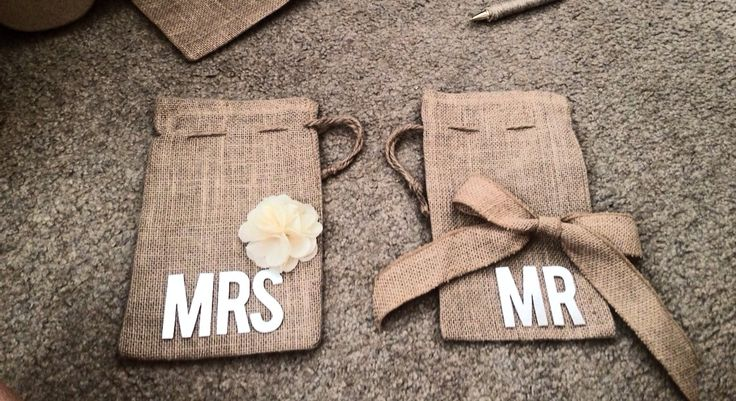 Rustic wedding money dance bags