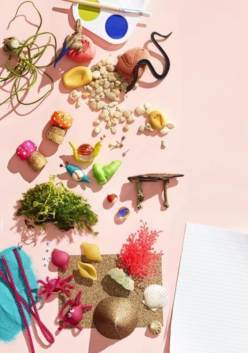 Add these crafty touches to make your fairy garden even more inviting.  Faux Fossils Shape air-dry modeling compound (Crayola Model Magic, $4; crayola.com) into boulders and use toy animals and shells to make fossil-like impressions.  Swirly Snails Roll small tubes out of air-dry modeling compound. Press a ½- or 1-inch marble into the center, and bend one end of the clay up to form the head. Use map pins for antennae. (Take care with all small supplies, as they could pose a choking hazar...
