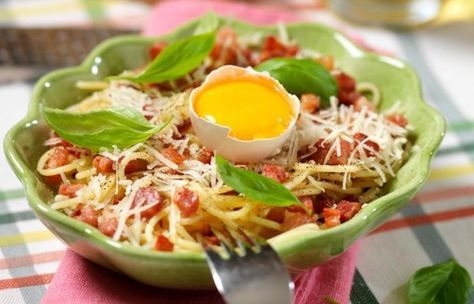 Klassisk spagetti carbonara recept en portion