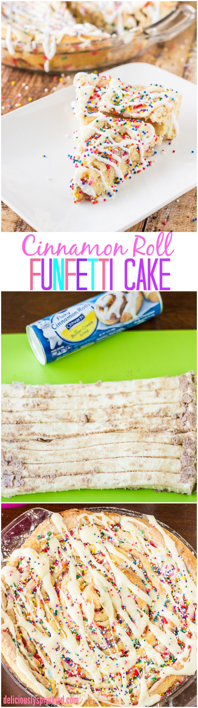 The BEST Cinnamon Roll Cake EVER! And it's SO easy to make!! My whole family LOVES this Cinnamon Roll Funfetti Cake!
