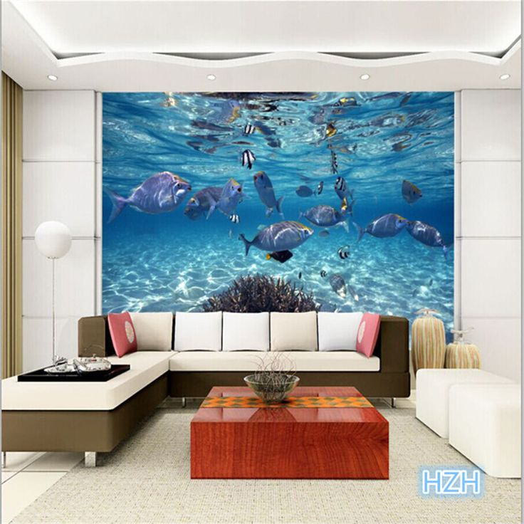 Custom photo wallpaper 3d stereoscopic underwater world of for Ceiling mural in smokers lounge