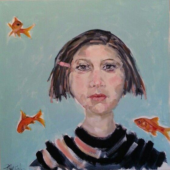 Goldfish in my head!! Oil on panel by Bernadette Doolan